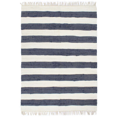 vidaXL Handvävd matta Chindi bomull 120x170 cm blå och vit