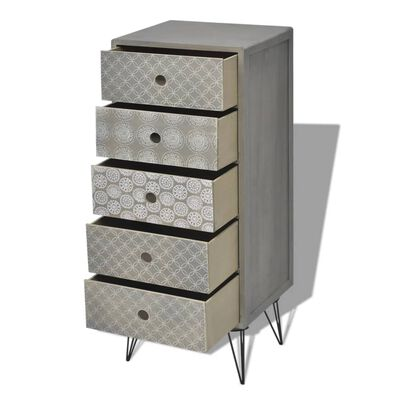 vidaXL Sidoskåp med 5 lådor grå