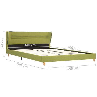 vidaXL Sängram med LED grön tyg 140x200 cm