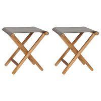vidaXL Hopfällbara stolar 2 st massiv teak och tyg mörkgrå