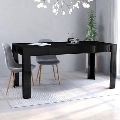 vidaXL Matbord svart högglans 160x80x76 cm spånskiva