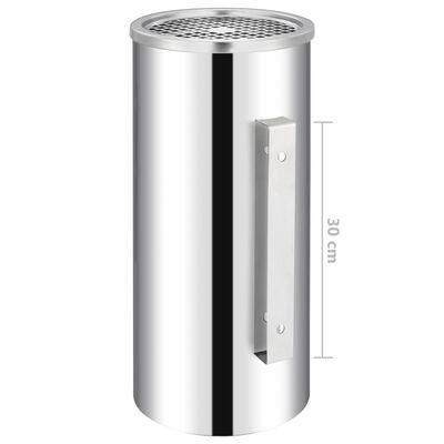 vidaXL Askfat/soptunna för vägg rostfritt stål 36 L