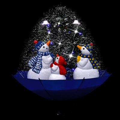 vidaXL Julgran med snö och paraplybas blå 75 cm PVC