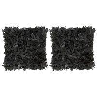vidaXL Kuddar 2 st långhårig svart 45x45 cm läder och bomull
