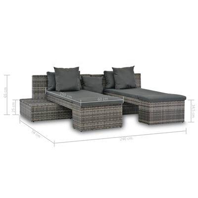 vidaXL Loungegrupp för trädgården med dynor 4 delar konstrotting grå