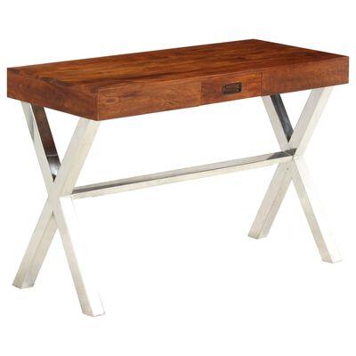 vidaXL Skrivbord massivt akaciaträ med sheshamfinish 110x50x76 cm