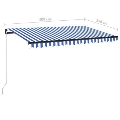 vidaXL Markis manuellt infällbar med LED 400x350 cm blå och vit