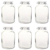 vidaXL Syltburkar i glas med lock 6 st 5 L