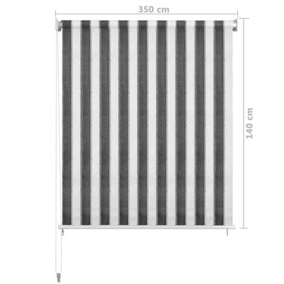 vidaXL Rullgardin utomhus 350x140 cm antracit och vita ränder