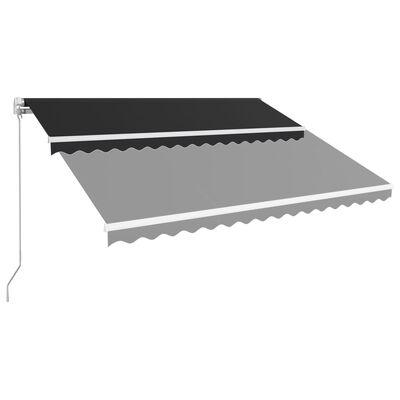 vidaXL Markis manuellt infällbar 400x300 cm antracit