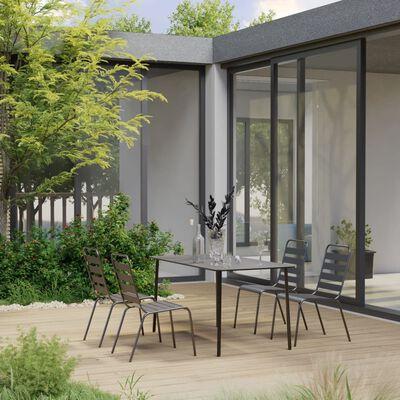 vidaXL Matgrupp för trädgården 5 delar stål mörkgrå