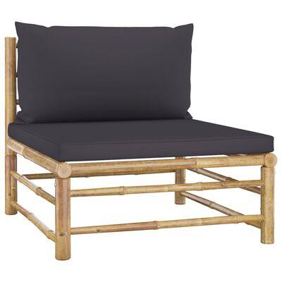 vidaXL Loungegrupp för trädgården med mörkgrå dynor 6 delar bambu
