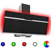vidaXL Köksfläkt RGB 90 cm rostfritt stål och härdat glas