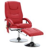 vidaXL Massagefåtölj med fotpall röd konstläder