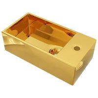 vidaXL Handfat med bräddavlopp 49x25x15 cm keramik guld