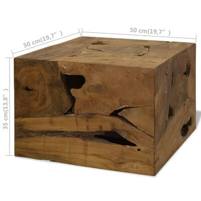 vidaXL Soffbord 50x50x35 cm äkta teak brun