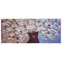 vidaXL Canvastavla blommor i vas flerfärgad 200x80 cm