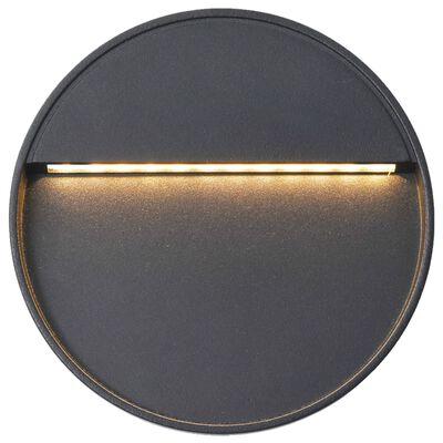 vidaXL Utomhusvägglampa LED 2 st 3 W svart rund