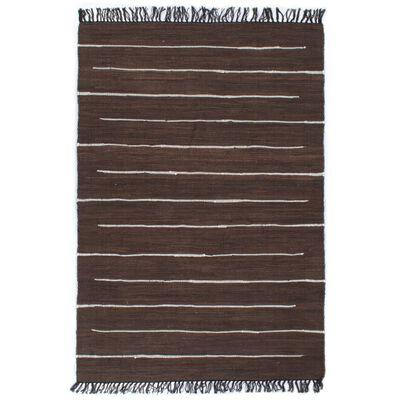 vidaXL Handvävd matta Chindi bomull 200x290 cm brun