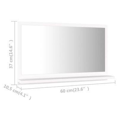vidaXL Badrumsspegel vit 60x10,5x37 cm spånskiva