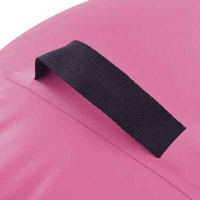 vidaXL Uppblåsbar gymnastikrulle med pump 120x90 cm PVC rosa
