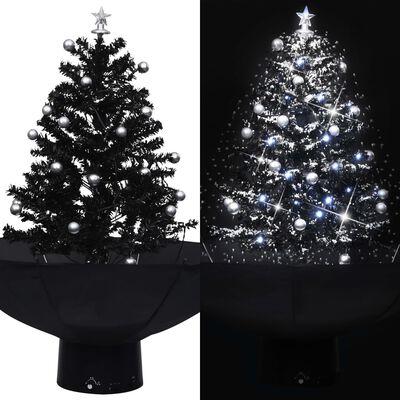 vidaXL Julgran med snö och paraplybas svart 75 cm PVC