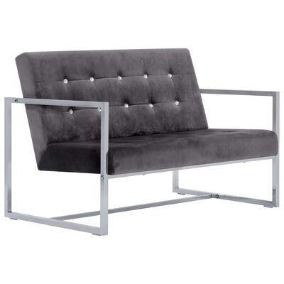 vidaXL 2-sitssoffa med armstöd mörkgrå krom och sammet