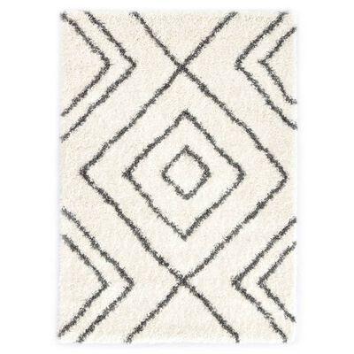 vidaXL Berbermatta långhårig PP beige och grå 160x230 cm