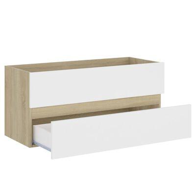 vidaXL Badrumsskåp med inbyggt handfat vit och sonoma-ek spånskiva