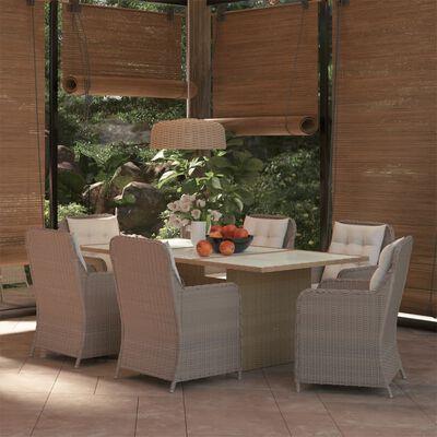 vidaXL Matgrupp för trädgården 7 delar konstrotting brun