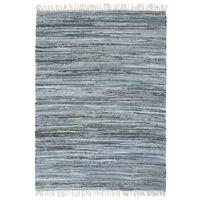 vidaXL Handvävd matta Chindi denim 160x230 cm blå