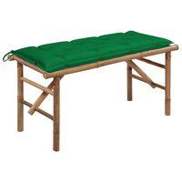 vidaXL Hopfällbar trädgårdsbänk med dyna 118 cm bambu, Green