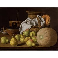 Stell Life with Melon and Pears,Melendez Luis Eugenio,50x40cm