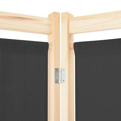 vidaXL Rumsavdelare 3 paneler 120x170x4 cm grå tyg