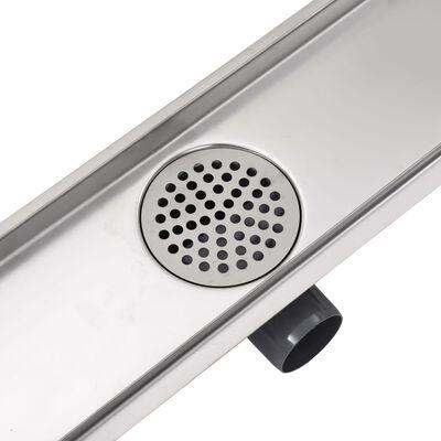vidaXL Avlång golvbrunn 930x140 mm rostfritt stål