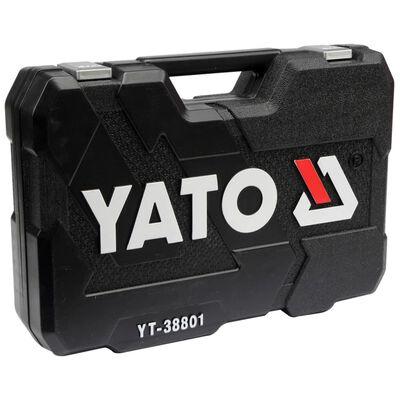 YATO Spärrhandtag för hylsnyckelsats 120 delar YT-38801