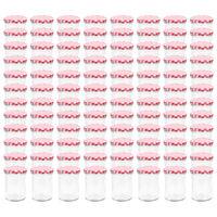 vidaXL Syltburkar i glas med vita och röda lock 96 st 400 ml
