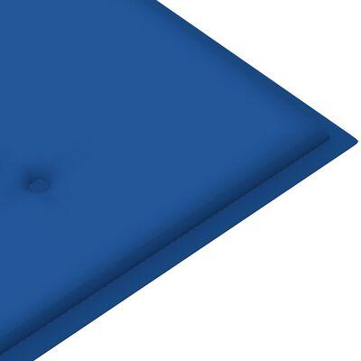 vidaXL Trädgårdsbänk med kungsblå dyna 120 cm massiv teak