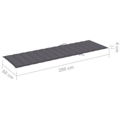 vidaXL Solsängsdyna antracit 200x60x4 cm tyg