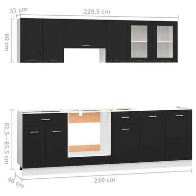 vidaXL Köksskåp set 8 delar svart spånskiva