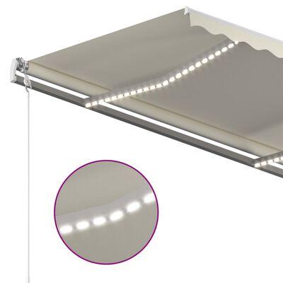 vidaXL Markis manuellt infällbar med LED 3x2,5 m gräddvit