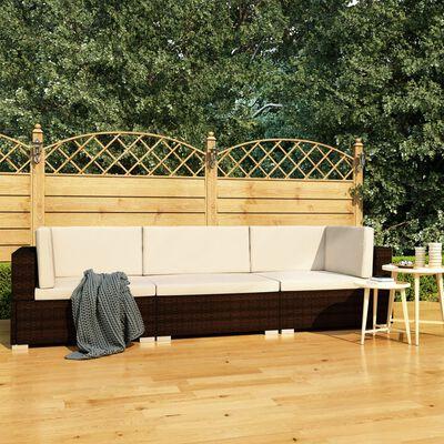 vidaXL Soffgrupp för trädgården med dynor 3 delar konstrotting brun
