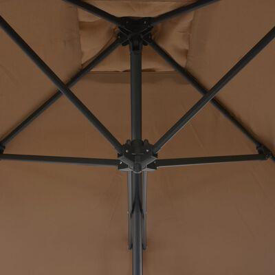 vidaXL Trädgårdsparasoll med stålstång 250x250 cm taupe
