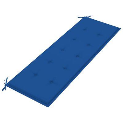 vidaXL Bataviabänk med kungsblå dyna 150 cm massiv teak