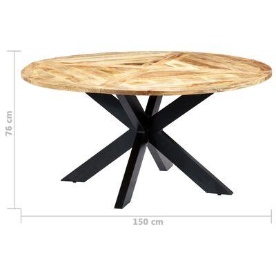 vidaXL Matbord rund 150x76 cm massivt mangoträ