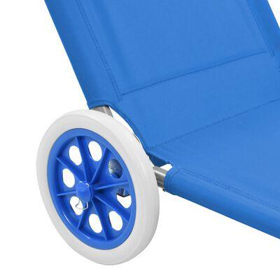 vidaXL Hopfällbar solsäng med tak och hjul stål blå