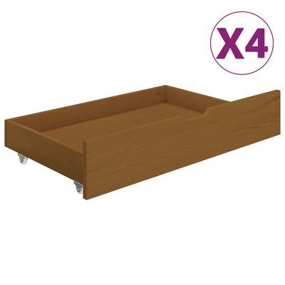 vidaXL Sängram med 4 lådor honungsbrun massiv furu 160x200 cm
