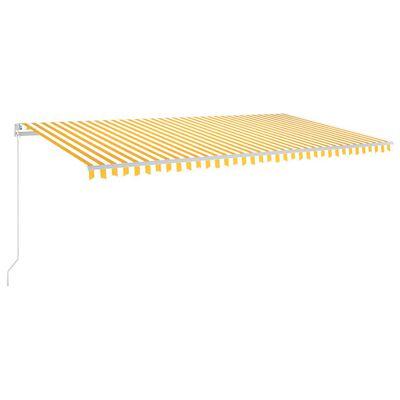 vidaXL Markis manuellt infällbar med LED 600x350 cm gul och vit