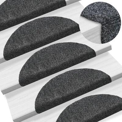 vidaXL Trappstegsmattor självhäftande 5 st mörkgrå 54x16x4 cm brodyr