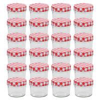 vidaXL Syltburkar i glas med vita och röda lock 24 st 110 ml